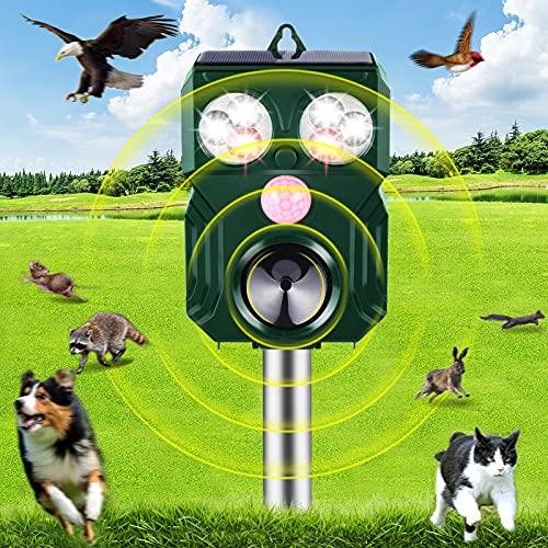 KNMY Katzenschreck Ultraschall Solar, Tiervertreiber Ultraschall mit Bewegungsmelder und Ultraschall Blitz, IP64 Wasserdichter Abwehr Hundeschreck Marderschreck gegen Katzen, Hunde für Garten