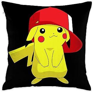 LIUYAN Funda de cojín Pikachu con un sombrero, funda de almohada decorativa para sofá, asiento de coche, funda de almohada suave de 45,7 x 45,7 cm