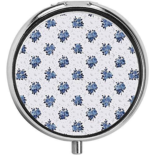 Vrouwelijke corsage patroon donkerblauw Engels rozen en cirkels van stippen op maat Pill Box/case - 3 -Compartment Pill Box/Pill case
