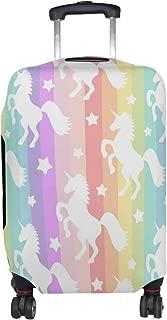 U LIFE Cute Colorful Rainbow Striped Unicorns Luggage Suitcase Cover Protector