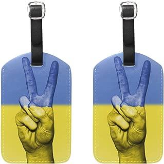 Ukraine Flag Peace Hand Travel Luggage Tags Suitcase Leather Baggage Tags Set of 2