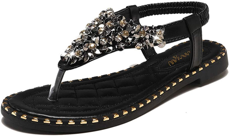 Women Flat Sandals Summer Clip Toe Sandals,Rhinestone Sandals,Bohemian shoes Slip Toe Beach Party shoes
