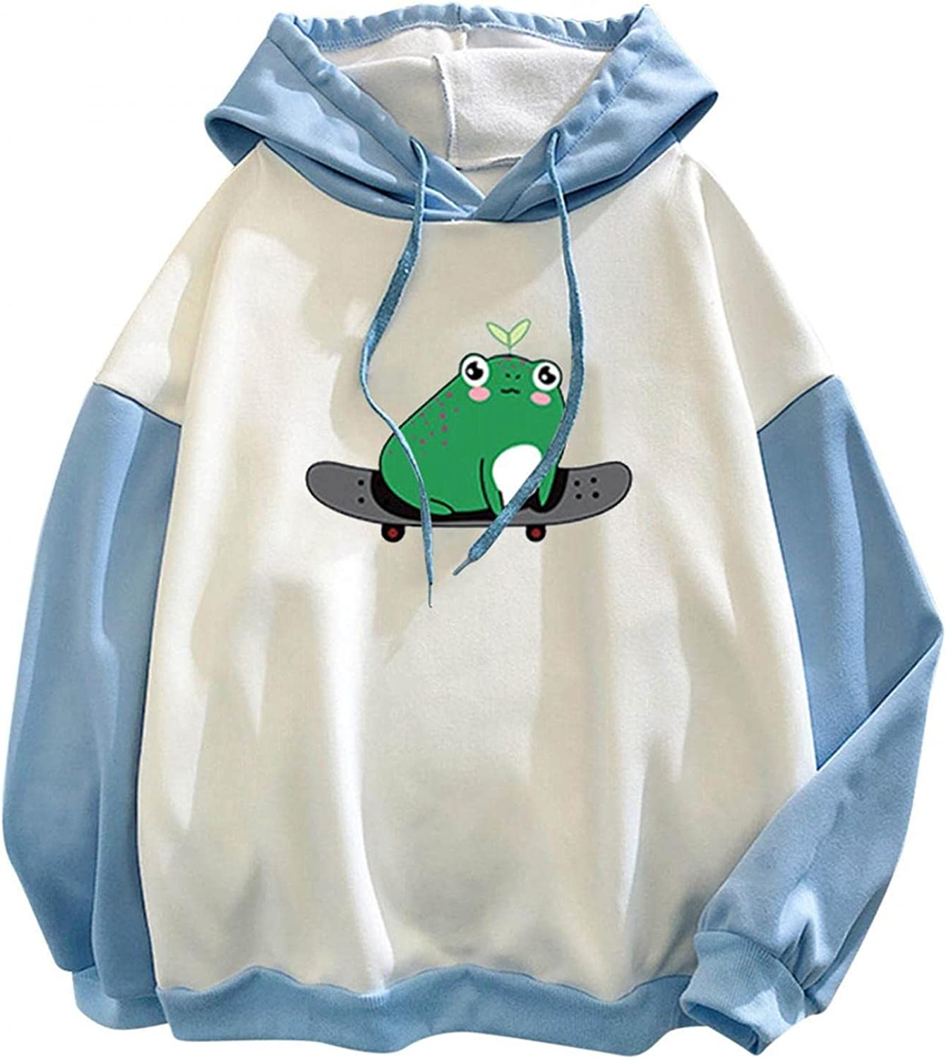 Haheyrte Hoodies for Womens Cute Frog Print Pocket Loose Long Sleeve Hooded Casual Sweatshirts Pullover Tops Shirts