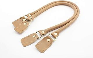 3DANCraftit Griffe aus Kunstleder und echtem Leder, Handtaschen-Griffe zur Herstellung von Handtaschen, Geldbörsen, Taschen, als Ersatzgriff, ein Paar 2 Stück Anti bronze hardware Kamel, 58 cm