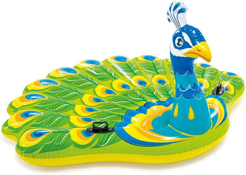 Planschbecken,Aufblasbare Pfau Pool Flo Schwimmen Pool Party Spielzeug Schwimmbad Lounge Für Erwachsene & Kinder, 195X165x95 cm