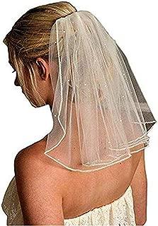 Women's Short Wedding Veils with Comb Lace Appliques Beads Bridal Veil(More)