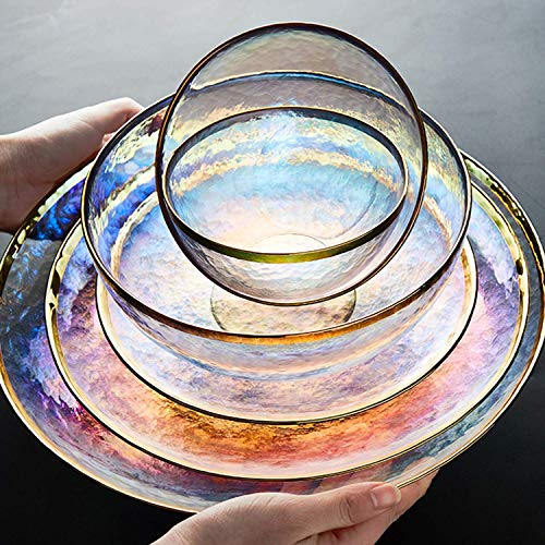 DHTOMC Conjunto de Cena de Cristal, Placa de Filete de Ensalada de Cristal Multicolores, cuchillería de Lujo de Phnom, 7pcs Cocina Xping