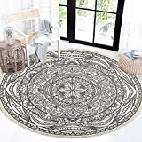 HEBE Cotton Round Area Rugs 4 Ft Machine Washable Chic Bohemian Mandala Printed Cotton Round Rug with Tassels Woven Throw Rug Carpet for Bedroom Living Room