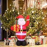 HITECHLIFE Papá Noel inflable de Navidad con luz LED blanca, Papá Noel de Navidad soplado por aire d...