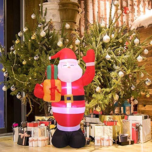 HITECHLIFE Babbo Natale gonfiabile natalizio con luce LED bianca, Babbo Natale natalizio soffiato ad aria da 1,5 m con luci per borsa regalo, decorazioni illuminate per feste allaperto per giardino