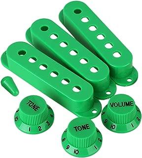 lovermusic 3pcs Green 82x18mm Electric Guitar Single Coil Pickup Cover 48/50/52 & 1V2T Knob