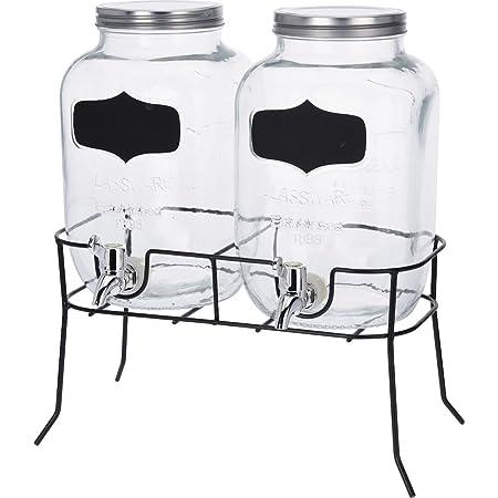 4L x 2 Ständer aus Glas Getränkespender Dispenser Saft Metallhalter Zapfhahn 8L