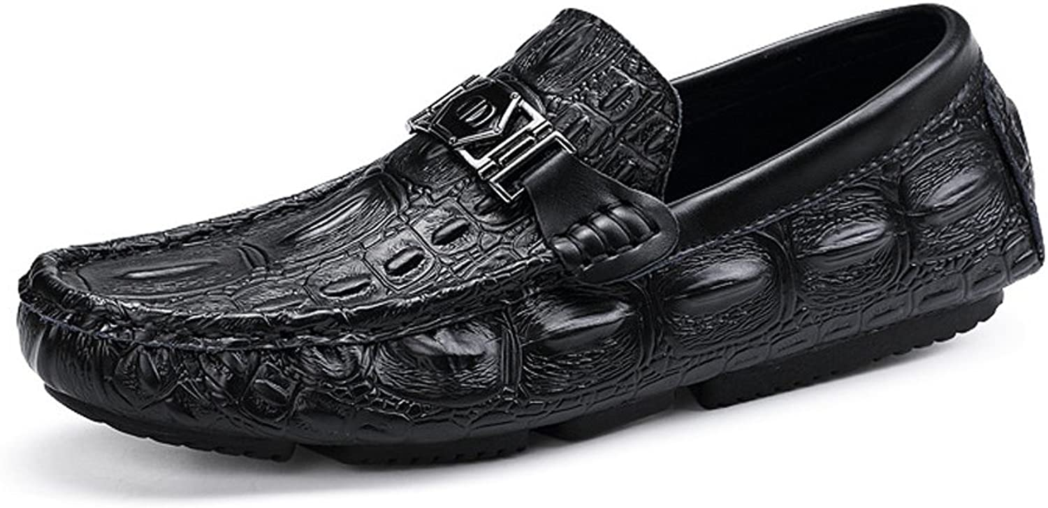 Z.L.F Men's Formal shoes Driving Penny Loafers Printing Genuine Leather Vamp Moccasins Soft Rubber Sole Oxford shoes