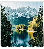 Winter Duschvorhang Berg Frozen Lake Print für Badezimmer