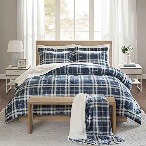 Comfort Spaces Aaron Sherpa Comforter and Throw Combo Set, Ultra Softy Fluffy Warm Checker Plaid Pattern Cold Weather Bedding, Full/Queen, Navy,CS10-0409