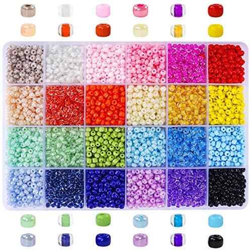 7200pcs 4mm 6/0 Glass Seed Beads, Multicolor Beads for Bracelet, with Plastic Storage Box for Jewelry Making