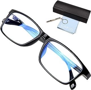 LAMIO ブルーライトカット メガネ PCメガネ パソコン用メガネ pc メガネ ブルーライト UVカット 紫外線カット ウェリントン 男女兼用 度なし (ブラック)