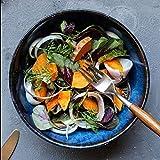 DJY-JY Tazón Gweat estilo japonés azul retro cerámica vajilla creativa Ramen Bowl grande sopa tazón ensalada de frutas