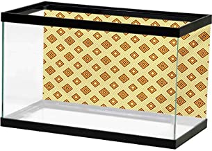 Fish Tank Decorative Retro,Old Fashioned Diamond Shapes with Inner Lines Sixties Style Rhombus Design,Pale Yellow Amber Image Fish