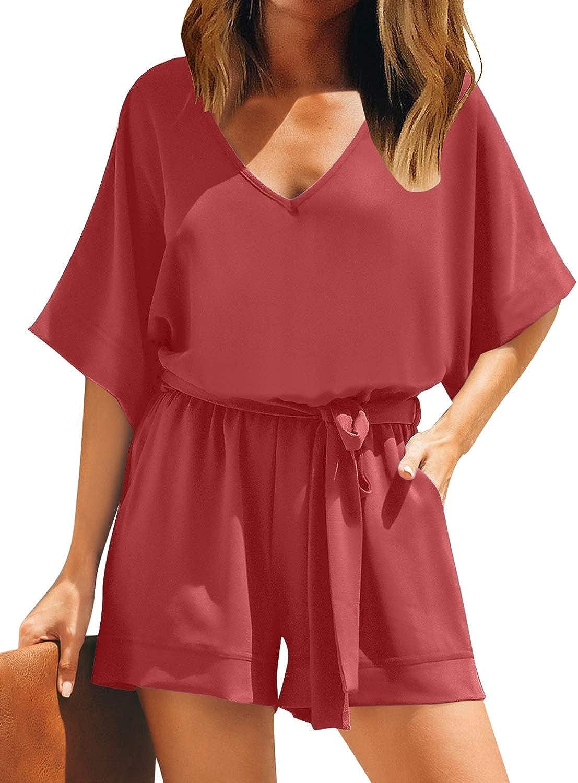 LookbookStore Women Casual Short Sleeves Self-Tie Belted Short Romper Jumpsuits