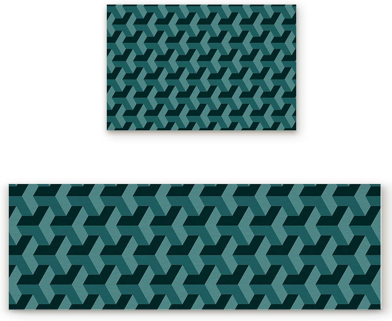 Savannan 2 Piece Non-Slip Kitchen Bathroom Entrance Mat Absorbent Durable Floor Doormat Runner Rug Set - Modern Geometric Rectangle Pattern - Green