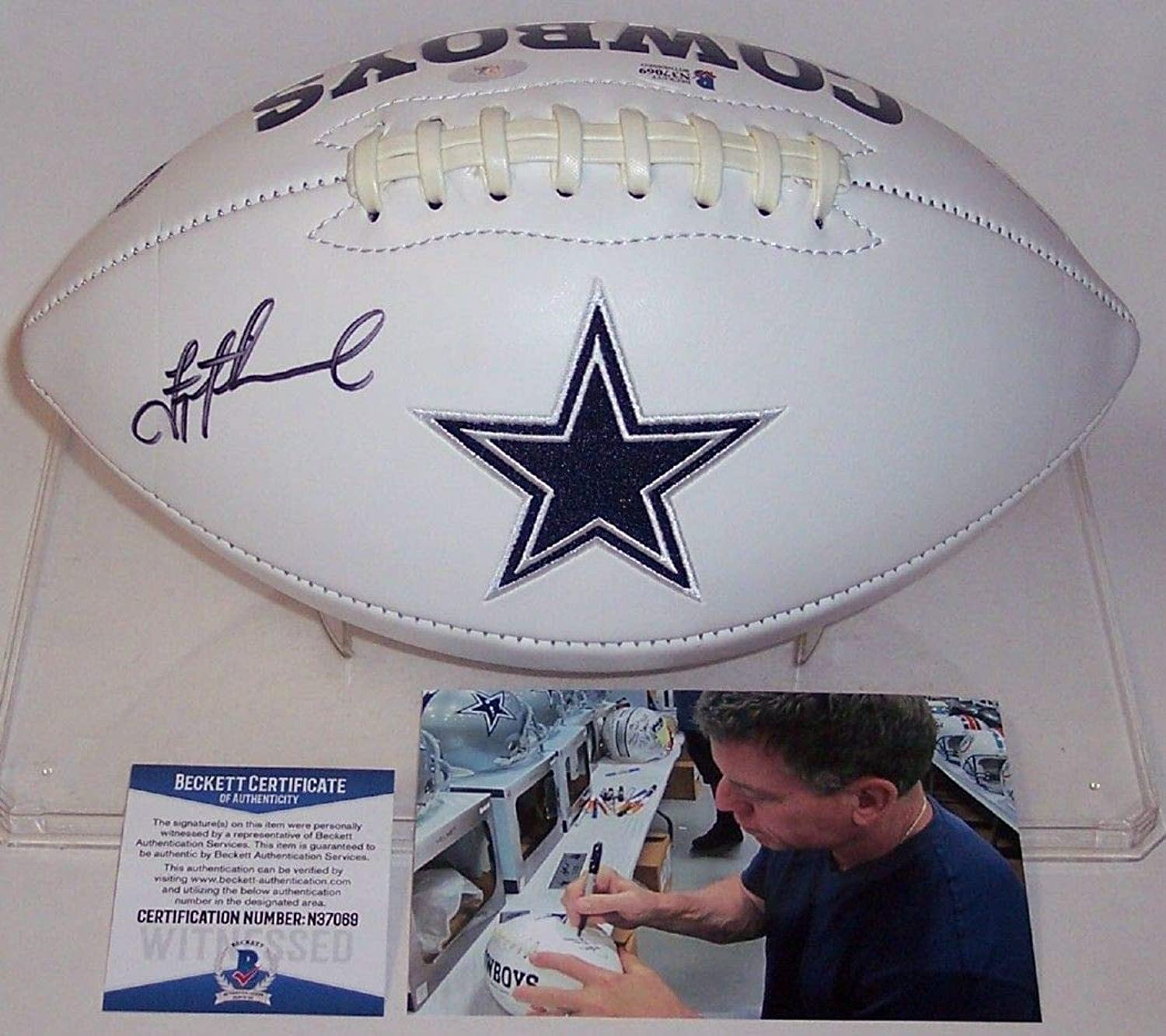 Troy Aikman Autographed Hand Dallas Cowboys Full Size Logo Football  BAS Beckett