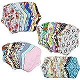 DASNTERED Coussinets menstruels réutilisables, Doublure de Culotte en Coton Bambou Coussins de Serviette en Tissu menstruel réutilisables lavables, protège-Slips en Tissu de Nuit