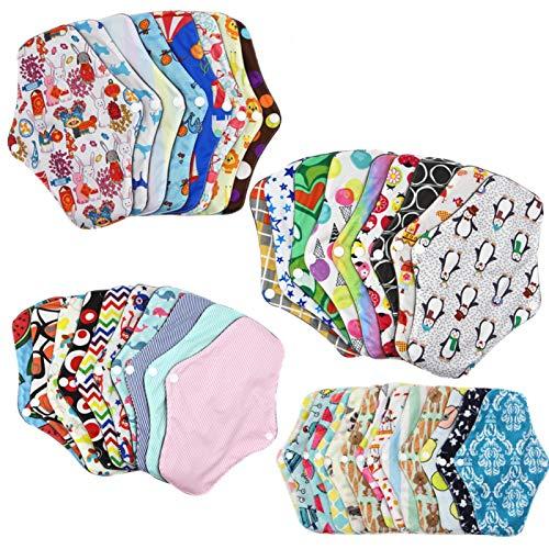 DASNTERED - Almohadillas menstruales reutilizables, forro de braga de algodón de bambú, cojines de toalla de tela menstrual reutilizables lavables, proteges de noche