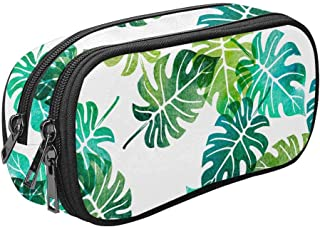 INTERESTPRINT Watercolor Green Tree Palm Leaves Pencil Pouch Big Capacity for Cosmetics, Coins, Stationery