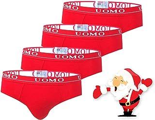 TrendyBoy Calzoncillos de algodón de Navidad para niños Ropa Interior Calzoncillos de 6-16 años Paquete de 4 Color Rojo Co...