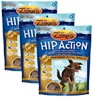 3 Packs Zuke's Hip Action with added Glucosamine and Chondroitin - PEANUT BUTTER (18 oz) by Zuke's