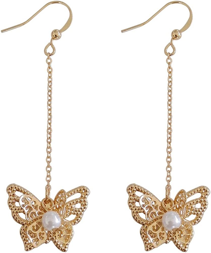 18K Gold Plated Hollow Beads side butterfly with pearls Long tassel Dangle Drop Earrings