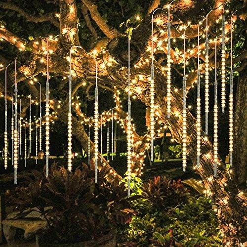 BlueFire Mejorada Meteoros Lluvia Luces, Impermeabilizan 50cm 10 Tubos 540 LED de Luces Con Enchufe de la EU Decoración para Jardín Bodas Fiesta Árbol de Navidad (Blanco Cálido)