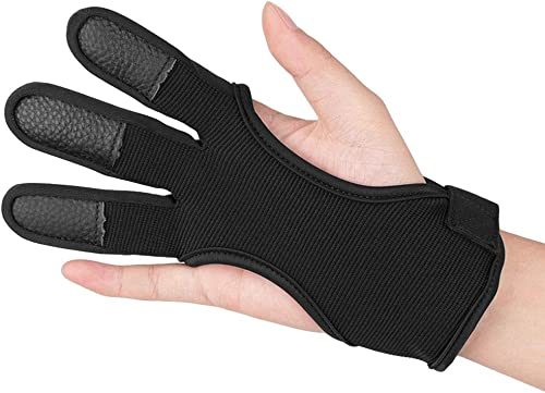 Archery Finger Protect Glove 3 Finger Pull Bow Arrow Shooting Gloves In JM