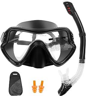 Snorkel Mask Set Snorkeling Gear 180 Panoramic View Anti-Fog Tempered Glass Lens Diving Mask Anti-Leak Dry Snorkel Set wit...