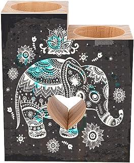 Tea Light Holder Wooden Hand Painted Antique Elephant Candles Holder Set of 2