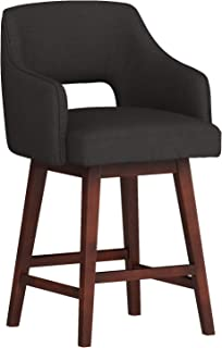 Rivet Malida Mid-Century Modern Open Back Swivel Kitchen Dining Room Counter Bar Stool with Arms, 37 Inch Height, Charcoal Black