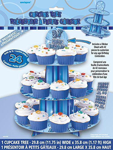 Unique Party 55402 - Alzata per Cupcake Personalizzabile Blu Brillante