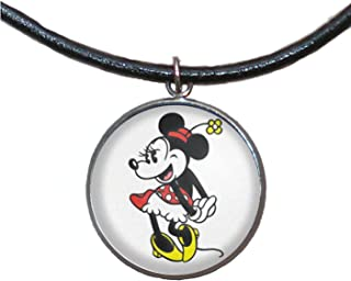 Ciondolo in acciaio inossidabile, 30mm, cordoncino di cuoio, fatto a mano, illustrazione Minnie Mouse 2