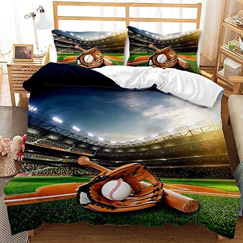 NHBTGH Funda nórdica Estampada Béisbol 240x220 cm Conjunto de Ropa de Cama de Poliéster de 3 Piezas + 2 Fundas De Almohada, para Todo el Mundo Adultos y Adolescentes