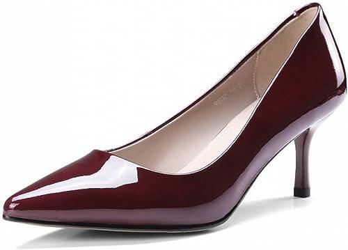 DHG Bouche Pointue Sexy Peu Profonde avec des Singles des Femmes Sauvages Quatre Saisons Travaillent des Chaussures à Talons Hauts,Une,36