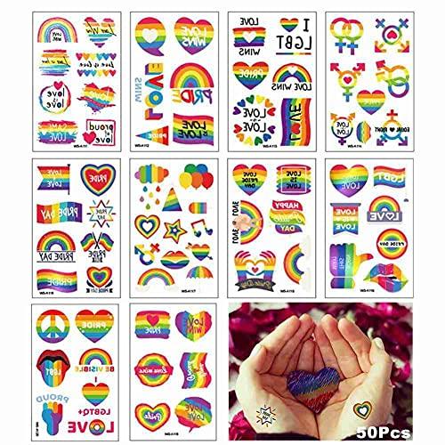 N.P 50 hojas de tatuajes temporales con 10 estilos de tamaños y formas, colores vivos del arco iris para el orgullo gay, fiestas, desfiles, decoraciones en refrigeradores, coches