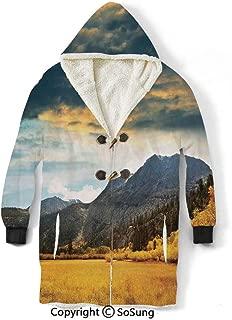 Woodland Decor Blanket Sweatshirt,Autumn in Mountain Golden Colored Grassland Sunlight dar Clouds Cloudscape Decorative Wearable Sherpa Hoodie,Warm,Soft,Cozy,XXL,for Adults Men Women Teens Friends,