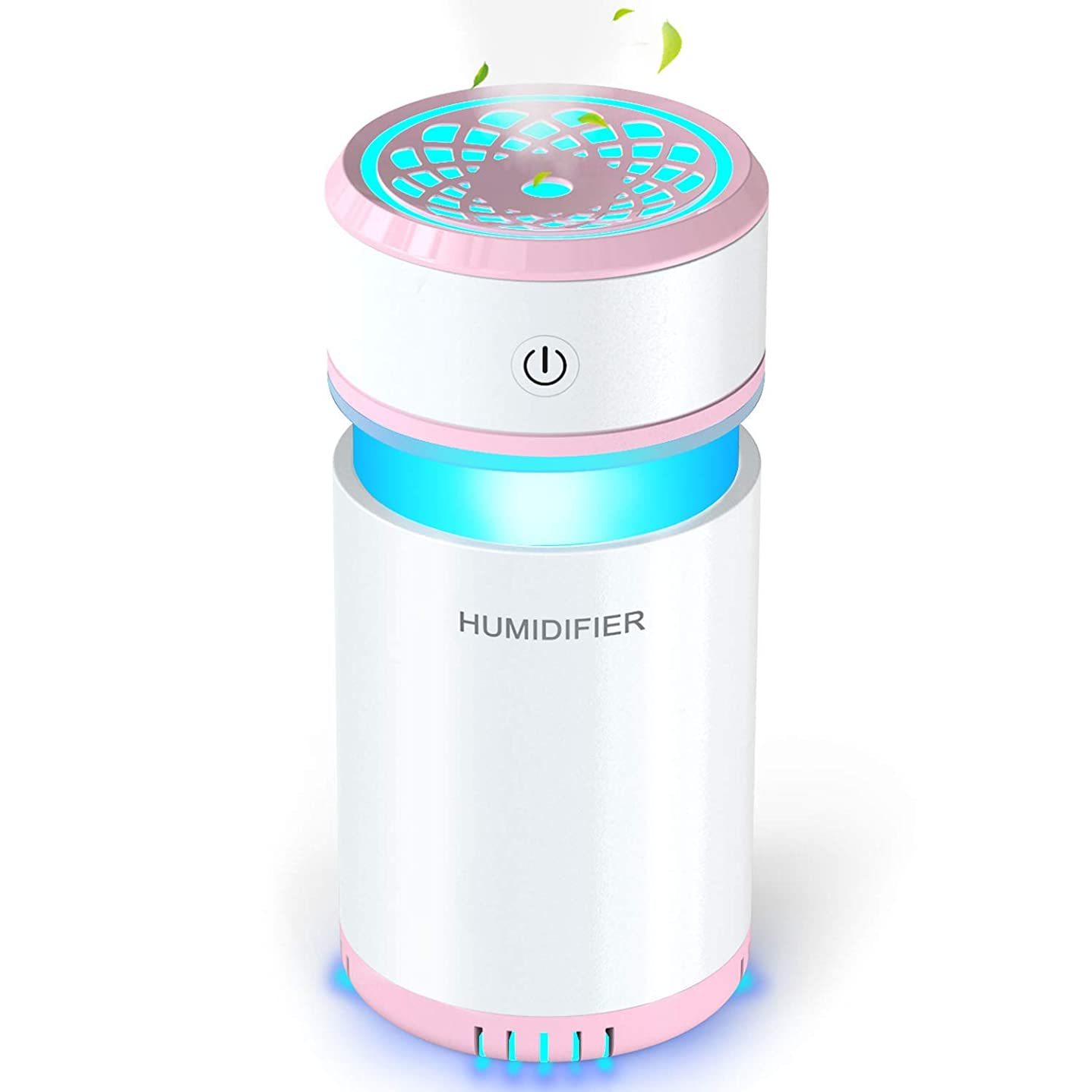 野心的メンテナンス限られた加湿器 卓上 アロマ 車載加湿器 ペットボトル 小型 除菌 空気浄化機 オフィス 寝室 車用 会社 旅行 家庭用 乾燥/空焚き防止 花粉症対策 USB 7色LEDライト ベッドサイドランプ 200ML (ピンク)