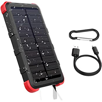 OUTXE USB C Solar Powered Phone Charger 10000mAh with Flashlight IP67 Waterproof Solar Power Bank Rugged for Hiking Camping Backpacking