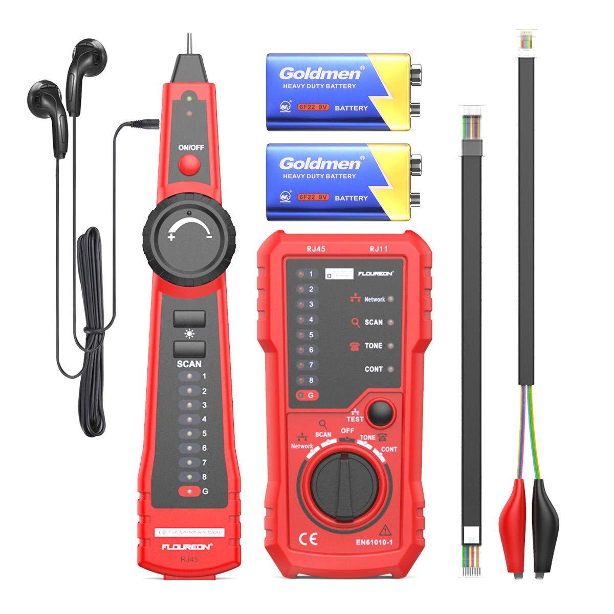 RJ11 RJ45 Cat5 Cat6 Telephone Wire Tracker Tracer Toner Ethernet LAN Network Cable Tester Detector Line Finder Tool