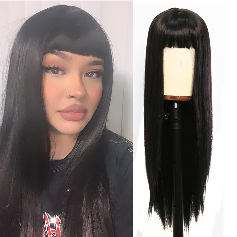 Freyja unisex Black Stright Long Wig with Syn Women for Elegant Bangs Air