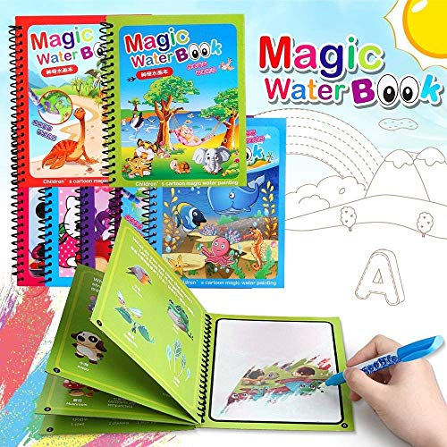 Gomerrykids Kid's Magic Water Coloring Book Unlimited Fun with Drawing Reusable Water-Reveal Activity Pad, Chunky-Size Water Pen for Birthday - Pack of 3