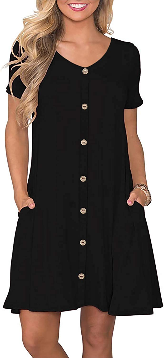 Manydress Women's Summer Casual T Shirt Dresses Button Down Swing Dress with Pockets MY035