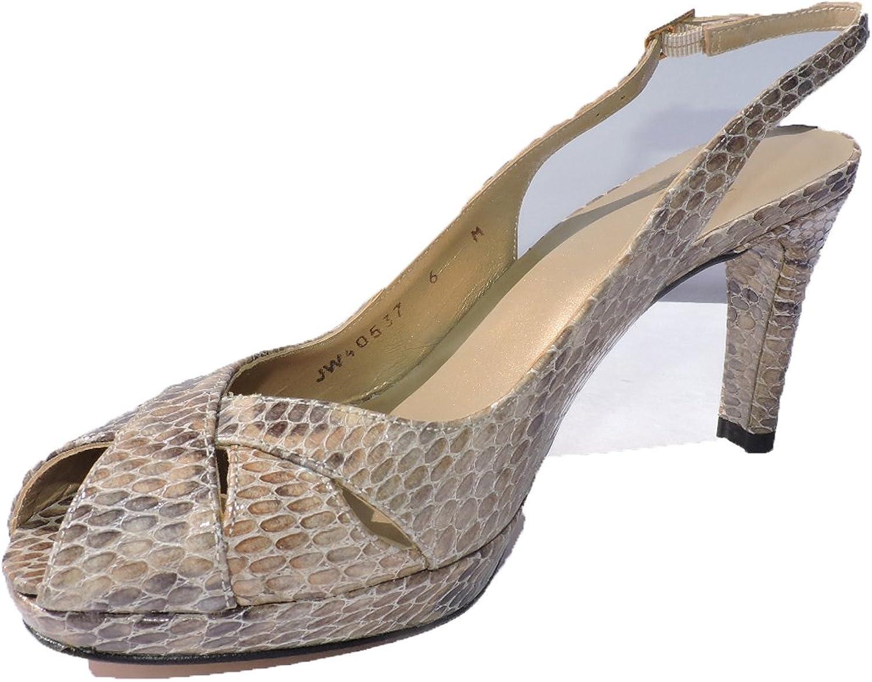 Stuart Weitzman Womens Peekapoo Snakeskin 3.5  Heel Sandals Peep Toe Slingbacks Size 6 M